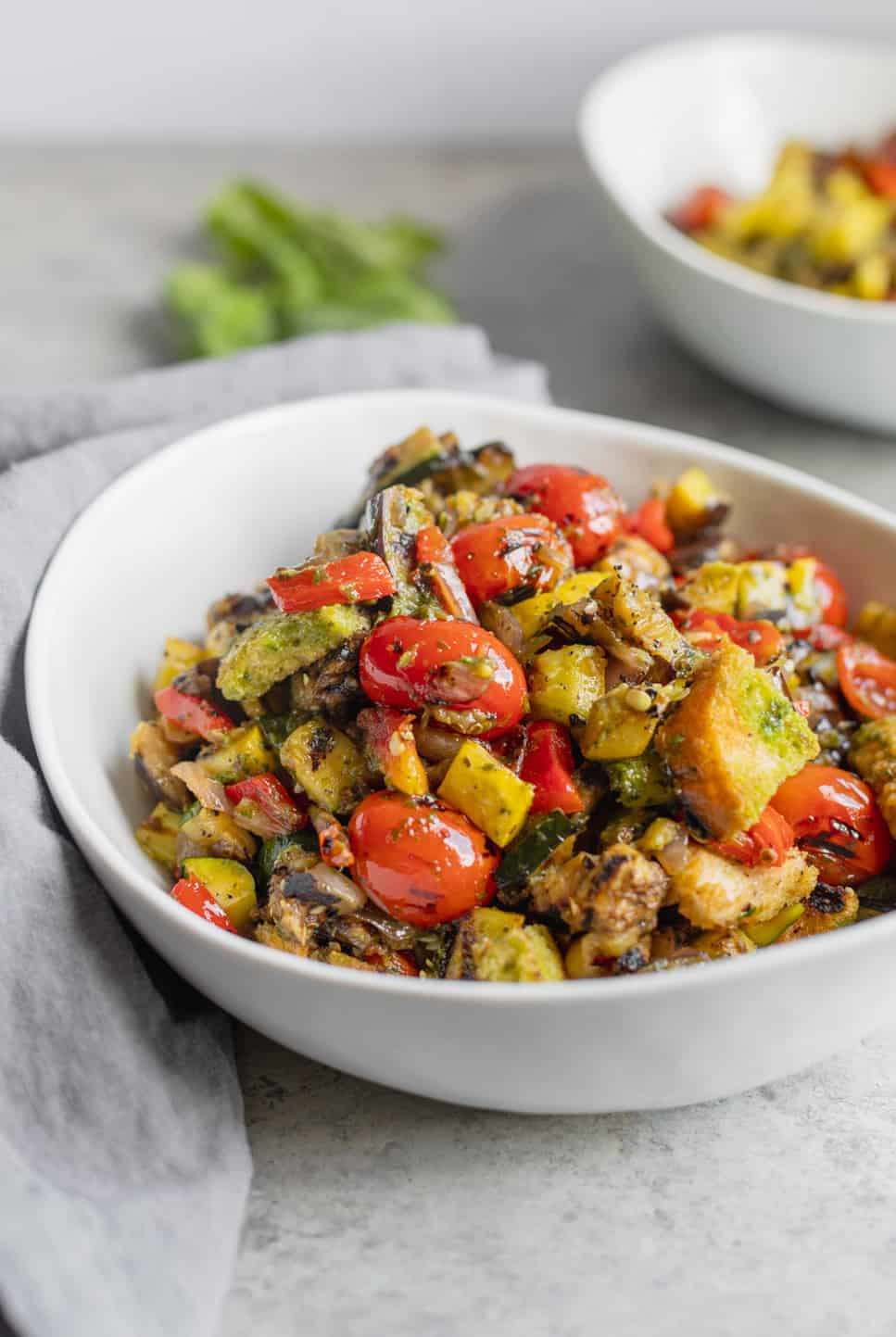 grilled panzanella salad with basil dressing
