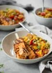 The perfect summer dinner! Grilled succotash with BBQ tofu kebobs. So flavorful and easy! Vegan and gluten-free. | www.delishknowledge.com