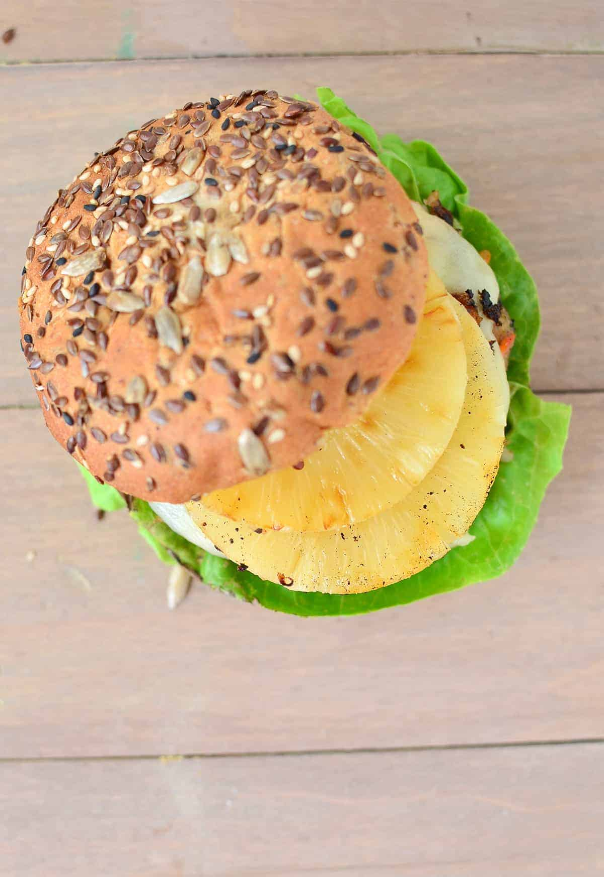 The BEST Veggie Burgers! Tropical Black Bean Patty with Grilled Pineapple and Swiss! You have to make this one. #vegetarian | www.delishknowledge.com