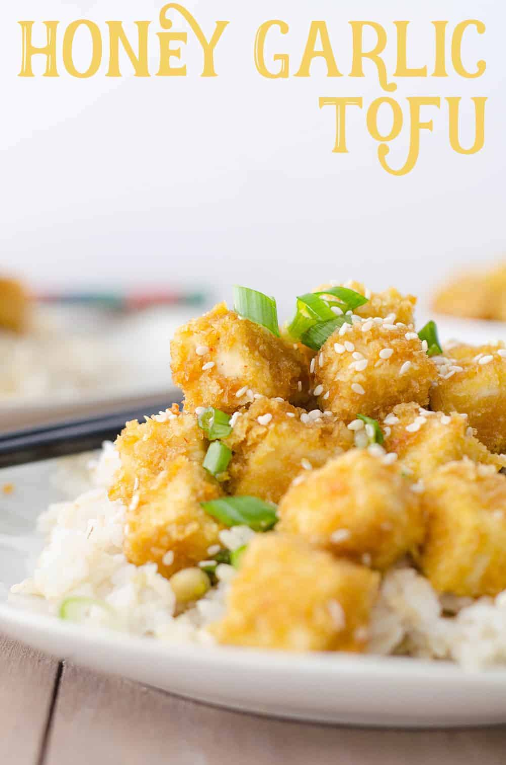 Honey Garlic Baked Tofu! Better than takeout! Crispy baked tofu nuggets in a sweet garlic sauce. Perfect over brown rice or steamed vegetables! Vegetarian and Gluten-Free.   www.delishknowledge.com