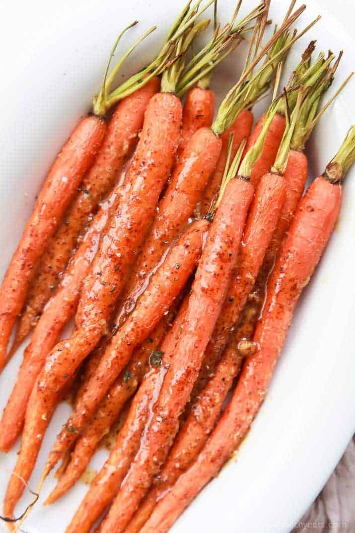 3 Ingredient Honey Mustard Glazed Carrots