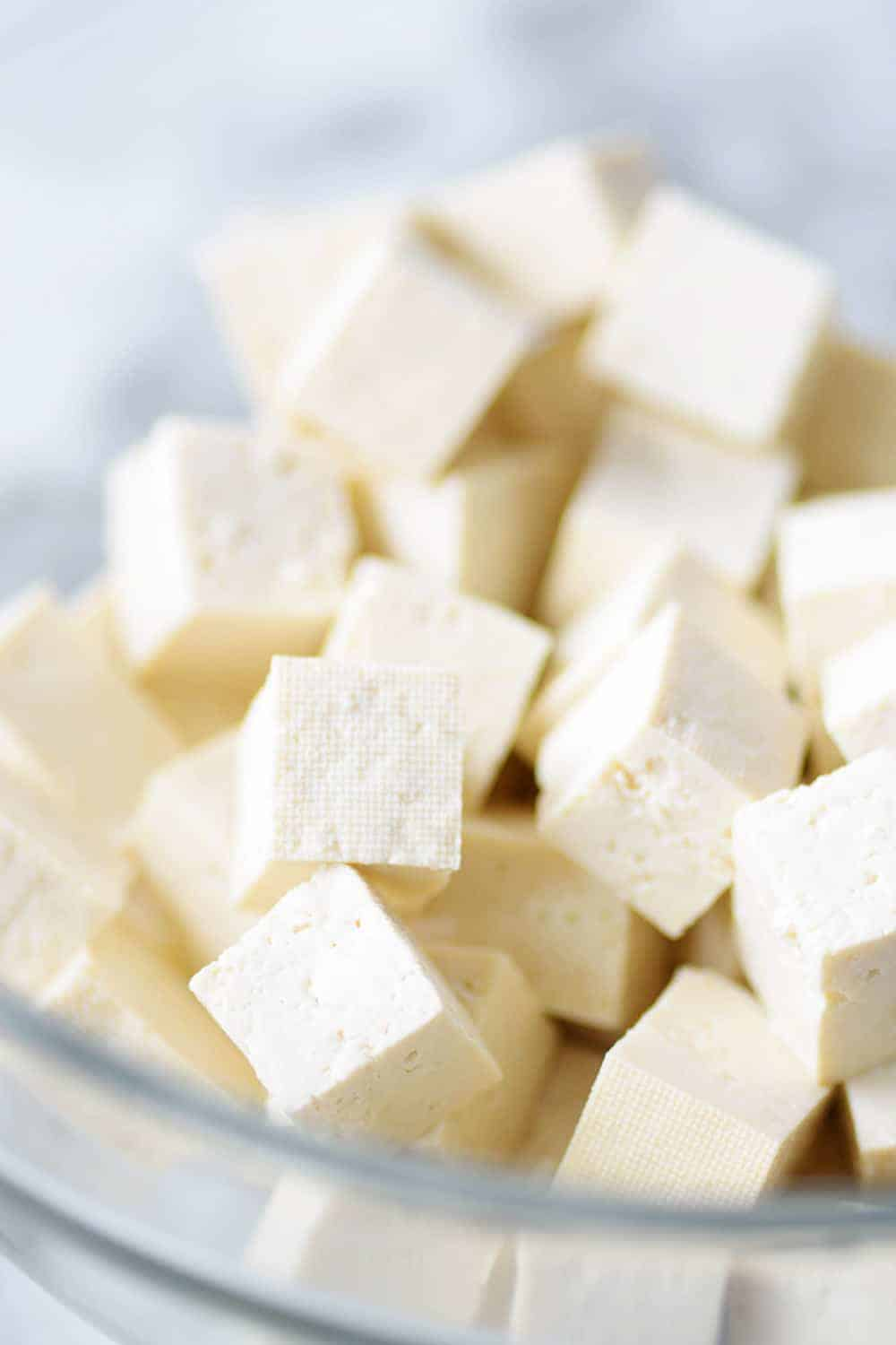 cubes of tofu in a bowl
