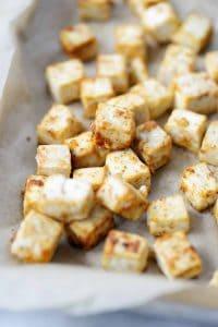 crispy baked tofu on a sheetpan