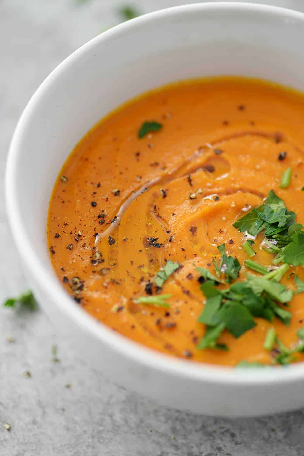 close up shot of vegan and gluten-free immune boosting carrot ginger turmeric soup