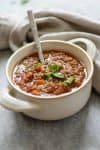 Instant Pot Vegan Lentil Chili! Looking for a healthy, quick chili? Try this vegan and gluten-free lentil chili. Made in the Instant Pot/Pressure Cooker for ease, with directions for the slow-cooker. | www.delishknowledge.com