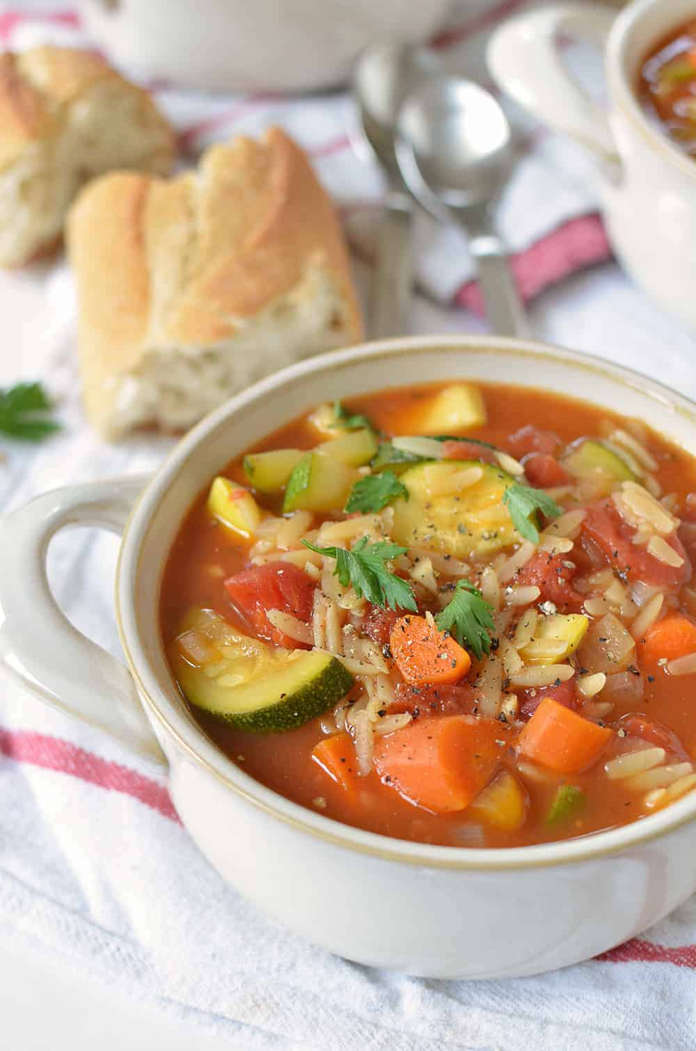 Italian Orzo Soup! Packed with vegetables, this is healthy comfort food at it's finest! Less than 250 calories per serving, a must make! | www.delishknowledge.com