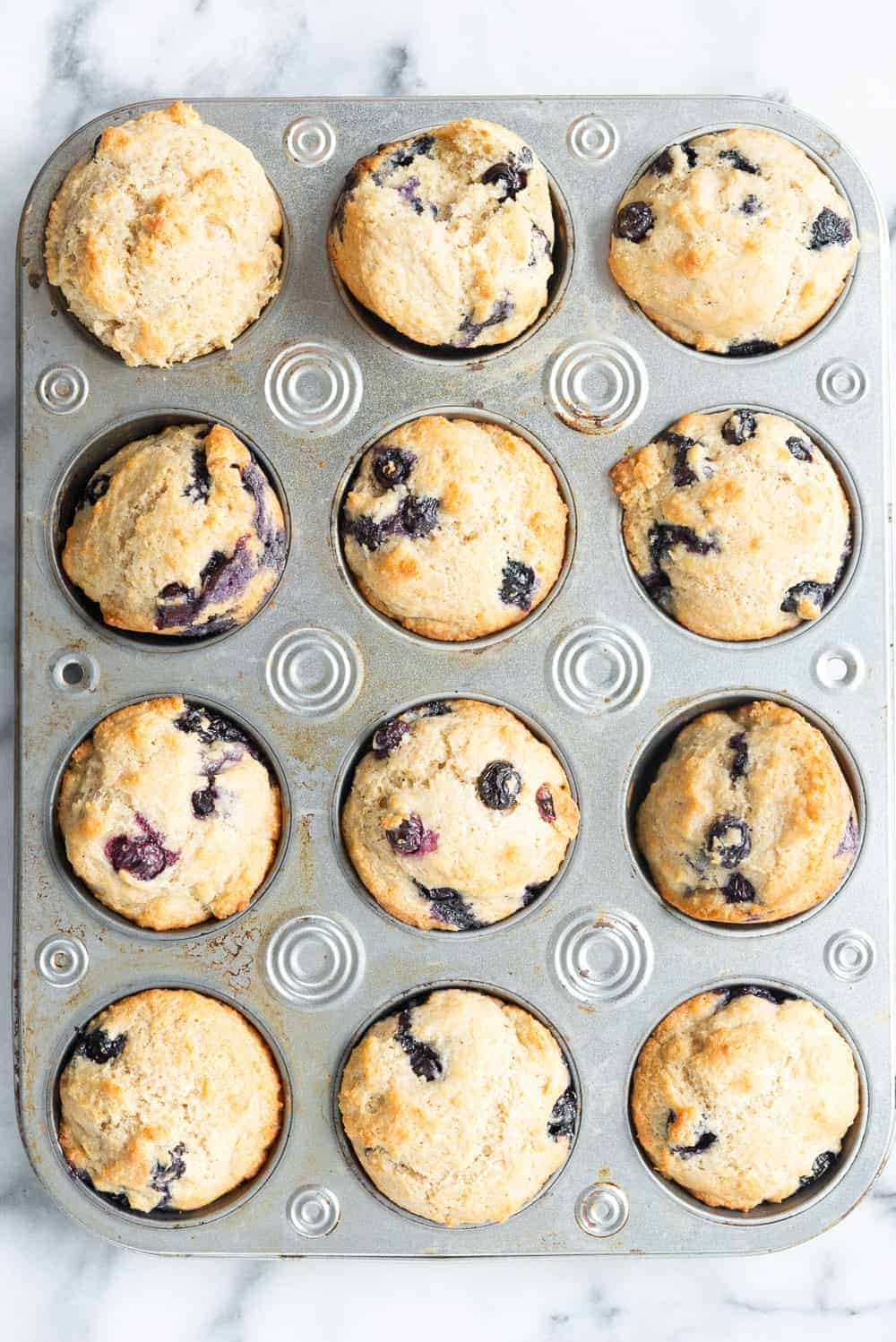 pan of healthy blueberry muffins