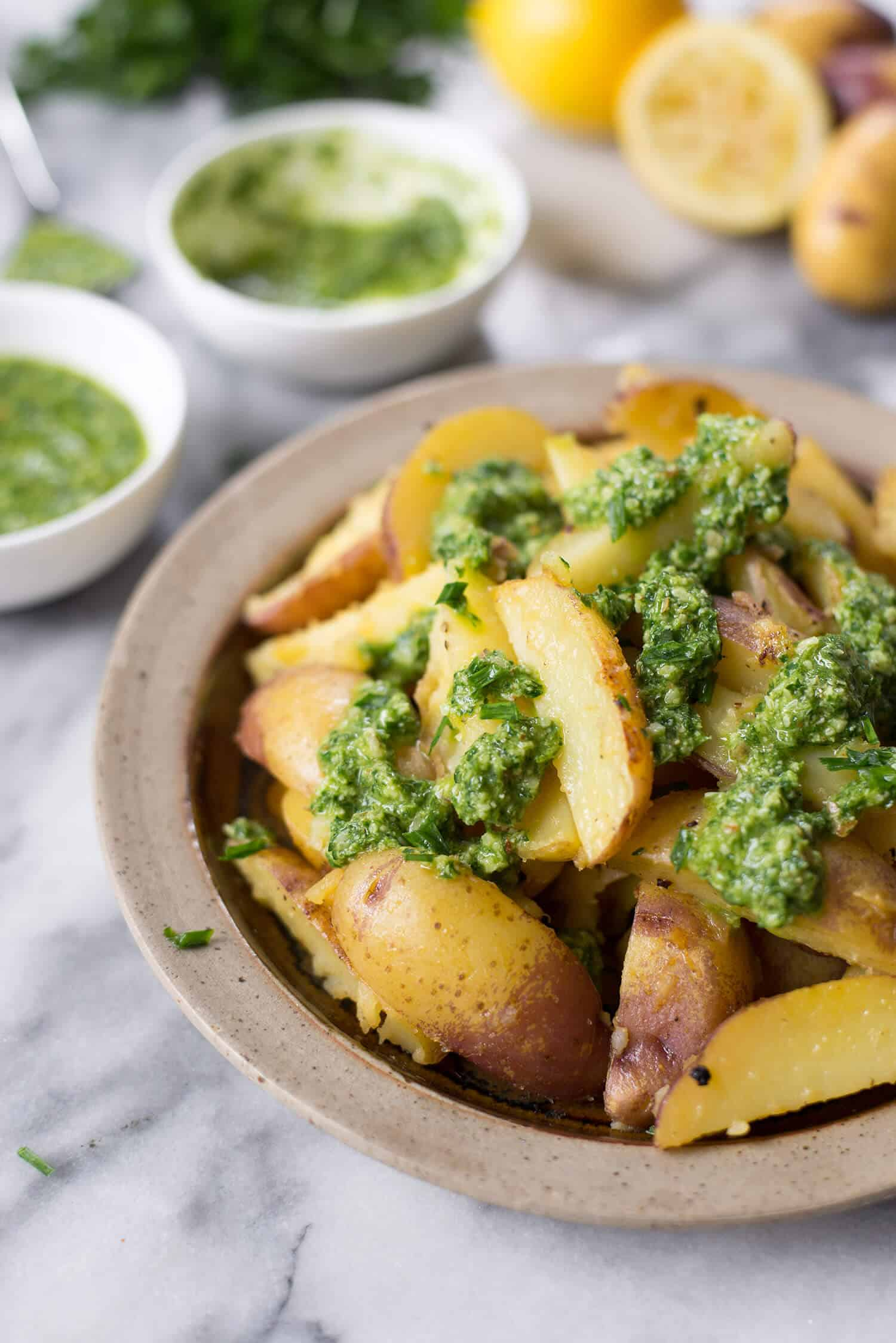 Lemon Pan-Fried Potatoes with Chive Pesto. The perfect side dish for the holidays. Vegan and gluten-free.   www.delishknowledge.com