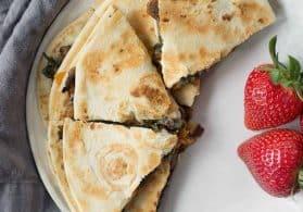 Lentil, Mushroom and Spinach Quesadillas