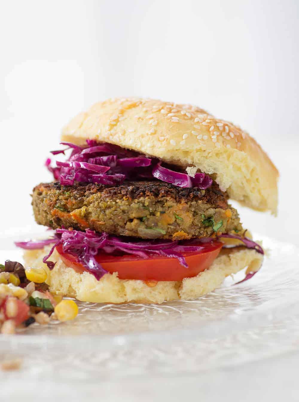 vegan burger with lentils and tahini