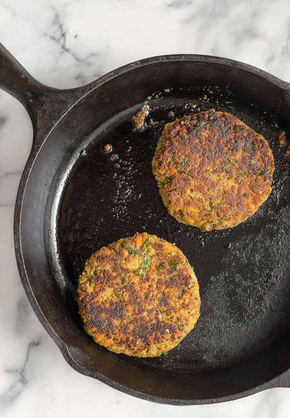 vegan tahini lentil burgers