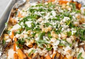 Loaded Sweet Potato Greek Fries