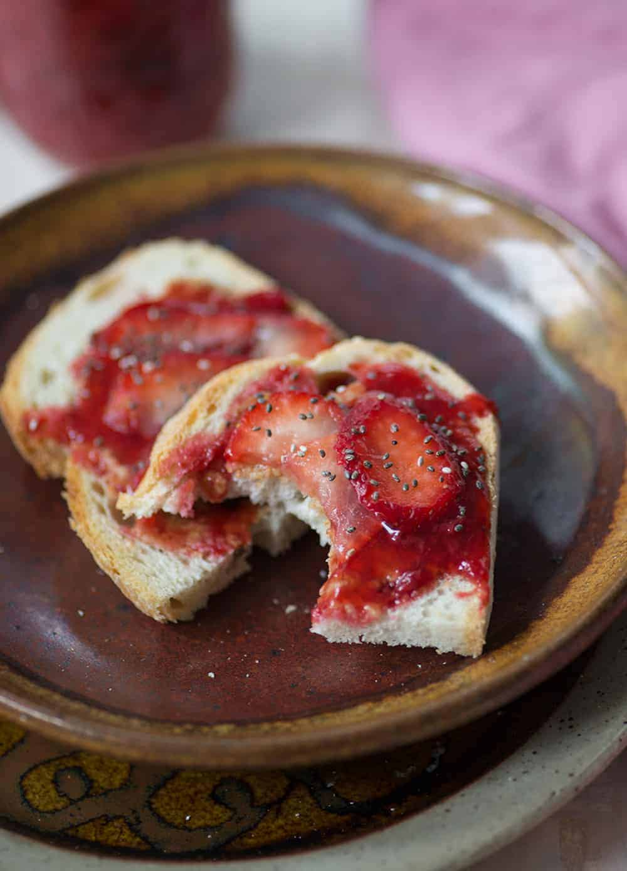 toast and fresh strawberry jam