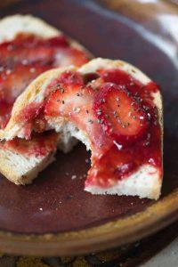 sourdough toast with strawberry jam