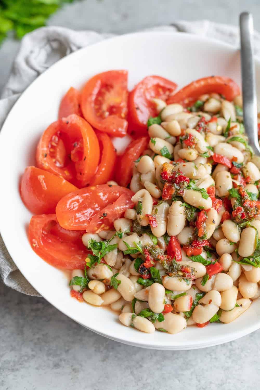 bowl of marinated white bean salad recipe