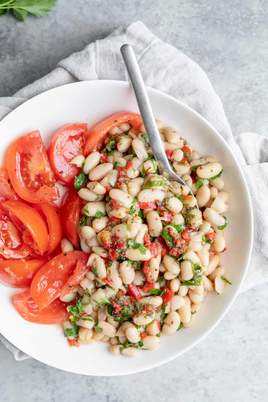 bowl of white bean salad