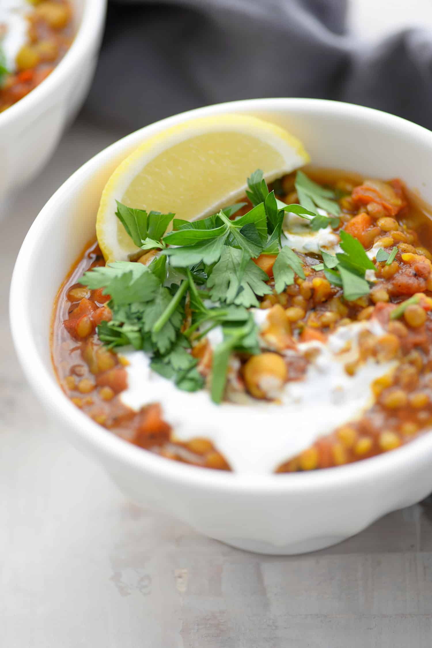 Moroccan Lentil and Chickpea Soup! If you like healthy, spicy food- you've gotta try this one out. #vegan #glutenfree #vegetarian #soup #dinner | www.delishknowledge.com