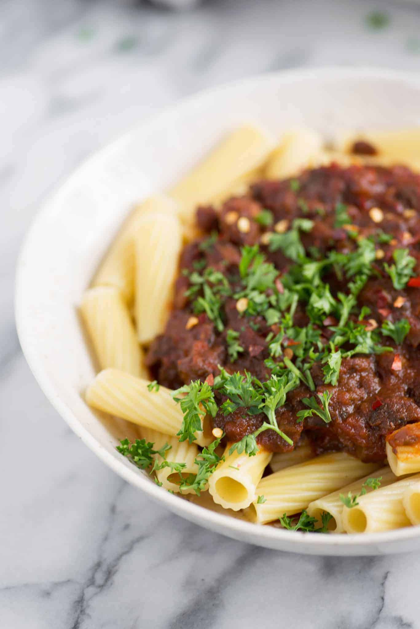 Vegan Pasta! This mushroom bolognese with rigatoni is super meaty and delicious. A must-make! | www.delishknowledge.com