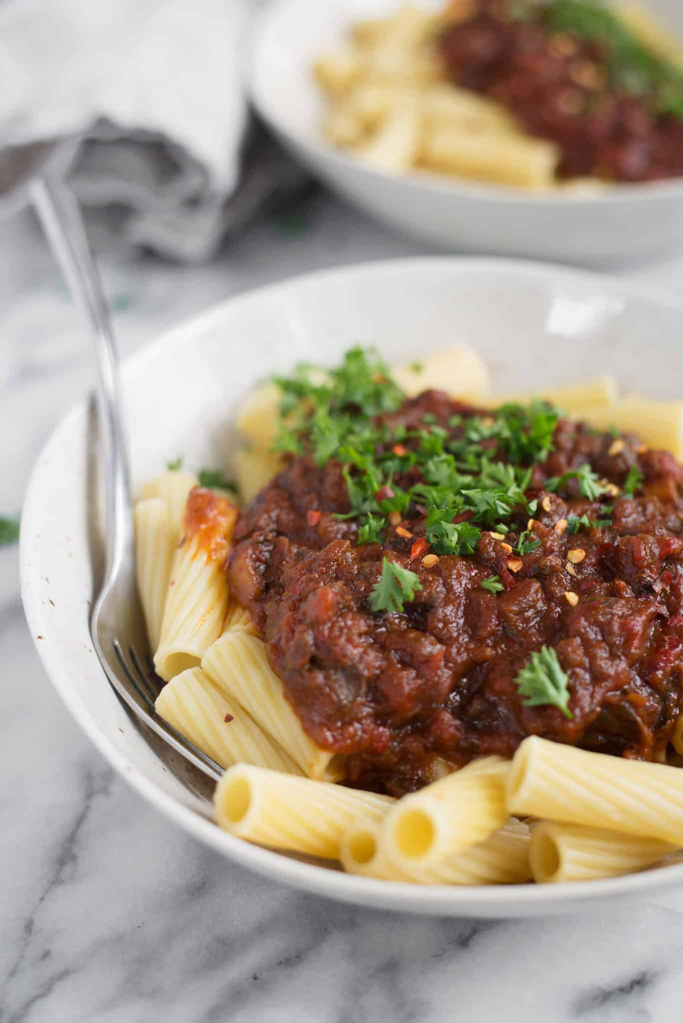 Mushroom Bolognese with Rigatoni - Delish Knowledge