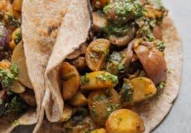 Vegan Potato Tacos with Mushrooms and Chimichurri Sauce
