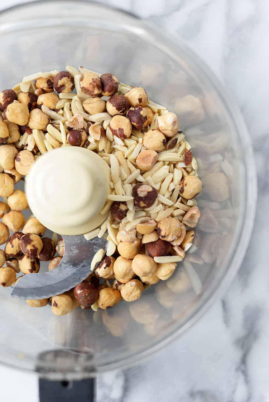 food processor of hazelnuts and almonds