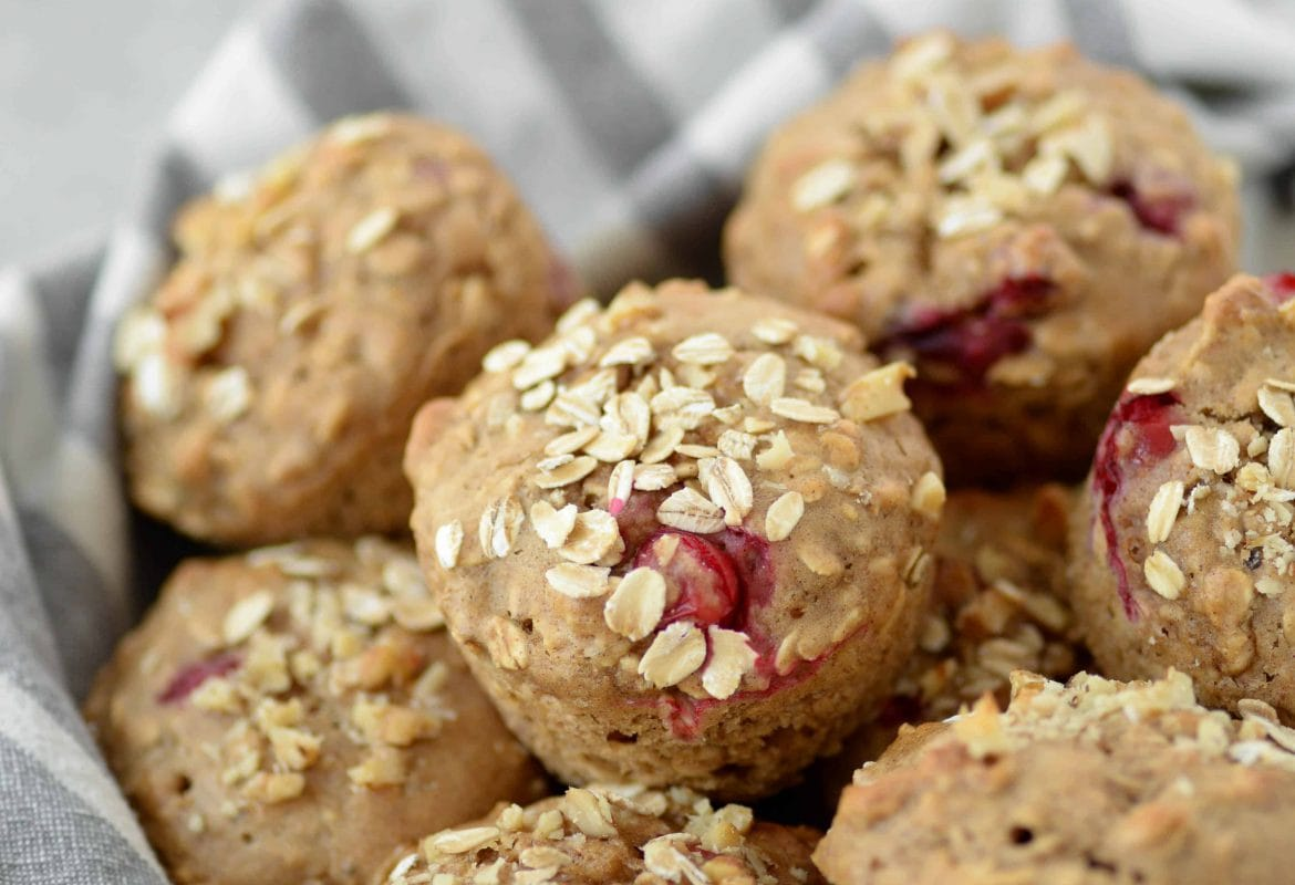 Oatmeal Cranberry Muffins! Healthy muffins, perfect for the holidays. Oatmeal muffins with fresh cranberries and walnuts. | www.delishknowledge.com
