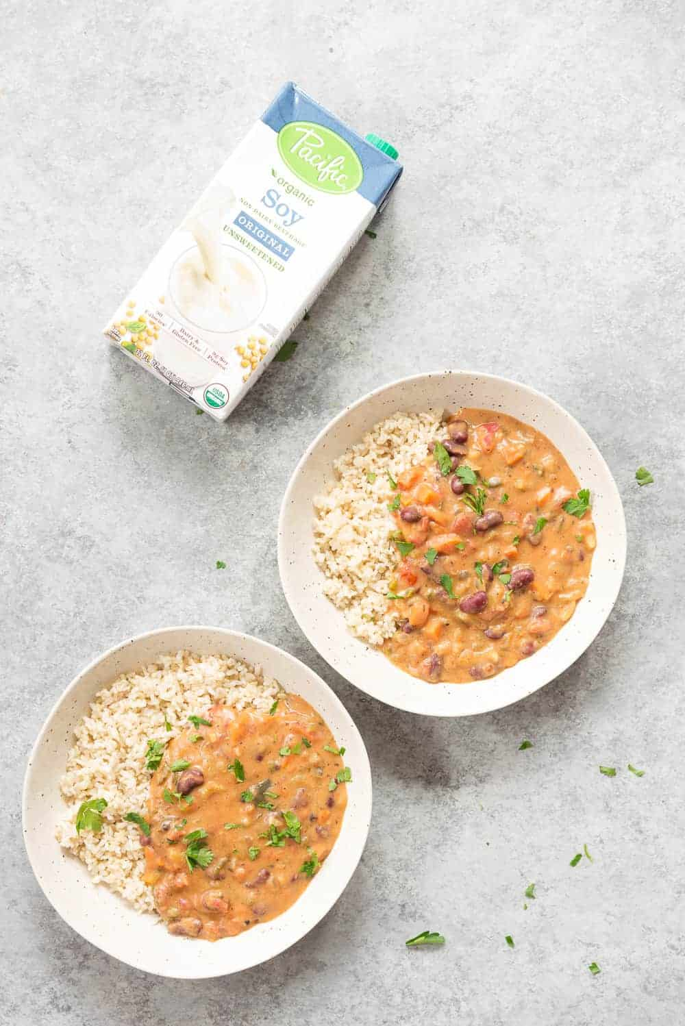 vegan gumbo made with soy milk