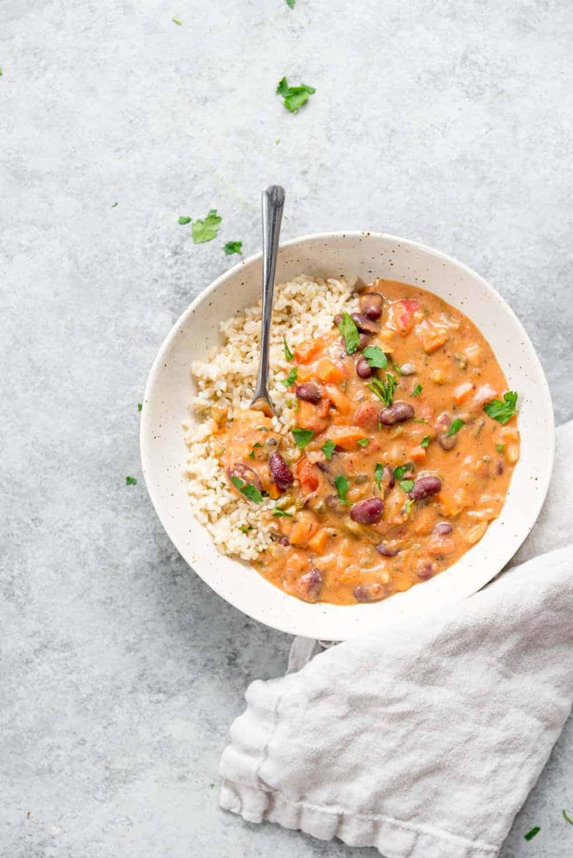 bowl of vegan gumbo