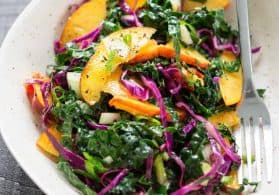 Kale, Peach and Cabbage Slaw