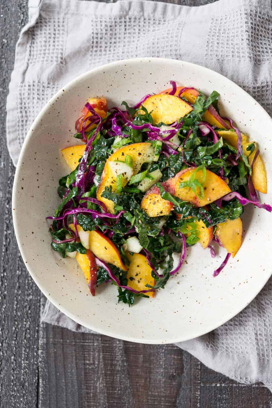 peach, kale and cabbage slaw