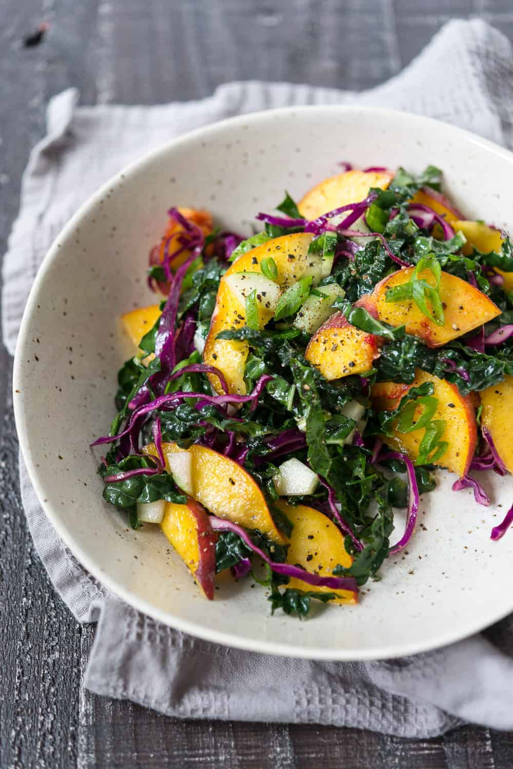peach salad with kale