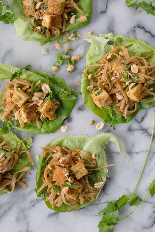 vegan peanut tofu lettuce wraps