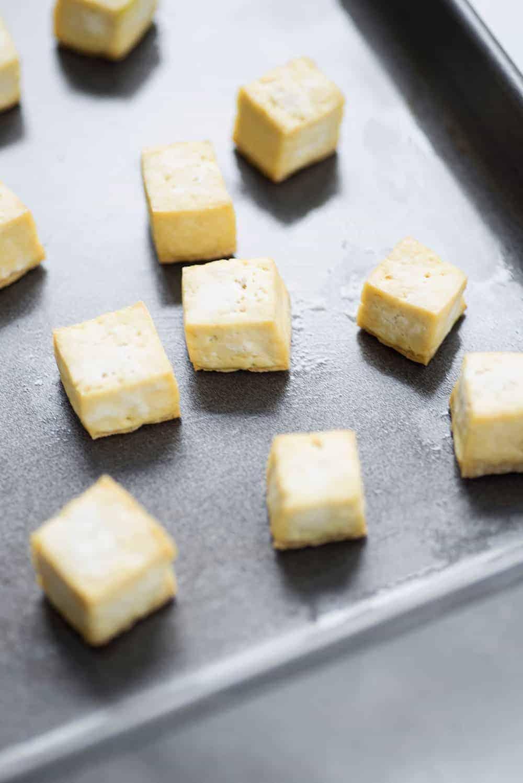 crispy baked tofu squares