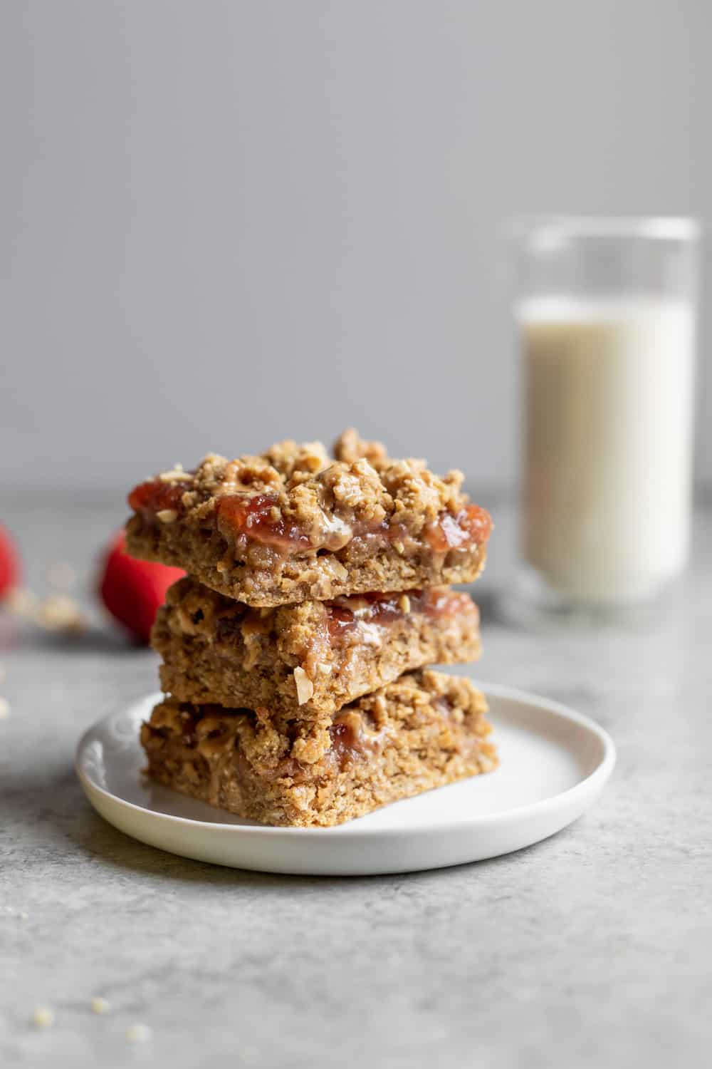 vegan peanut butter and jelly bars with milk
