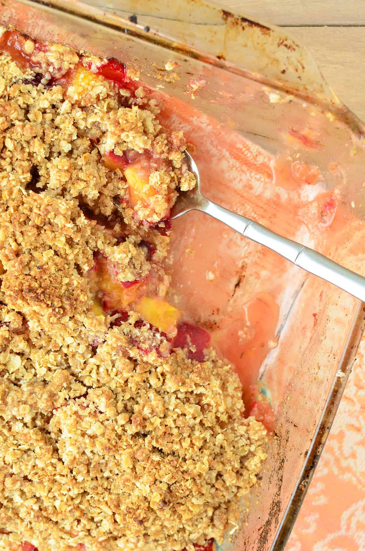 The best summer dessert- you've gotta make this one! Stone Fruit & Thyme Crumble, sweet, tart with a hint of savory. Vegan and Gluten-Free option! | www.delishknowledge.com