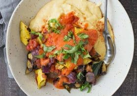 Creamy Polenta with Grilled Vegetables and Roasted Red Pepper Sauce