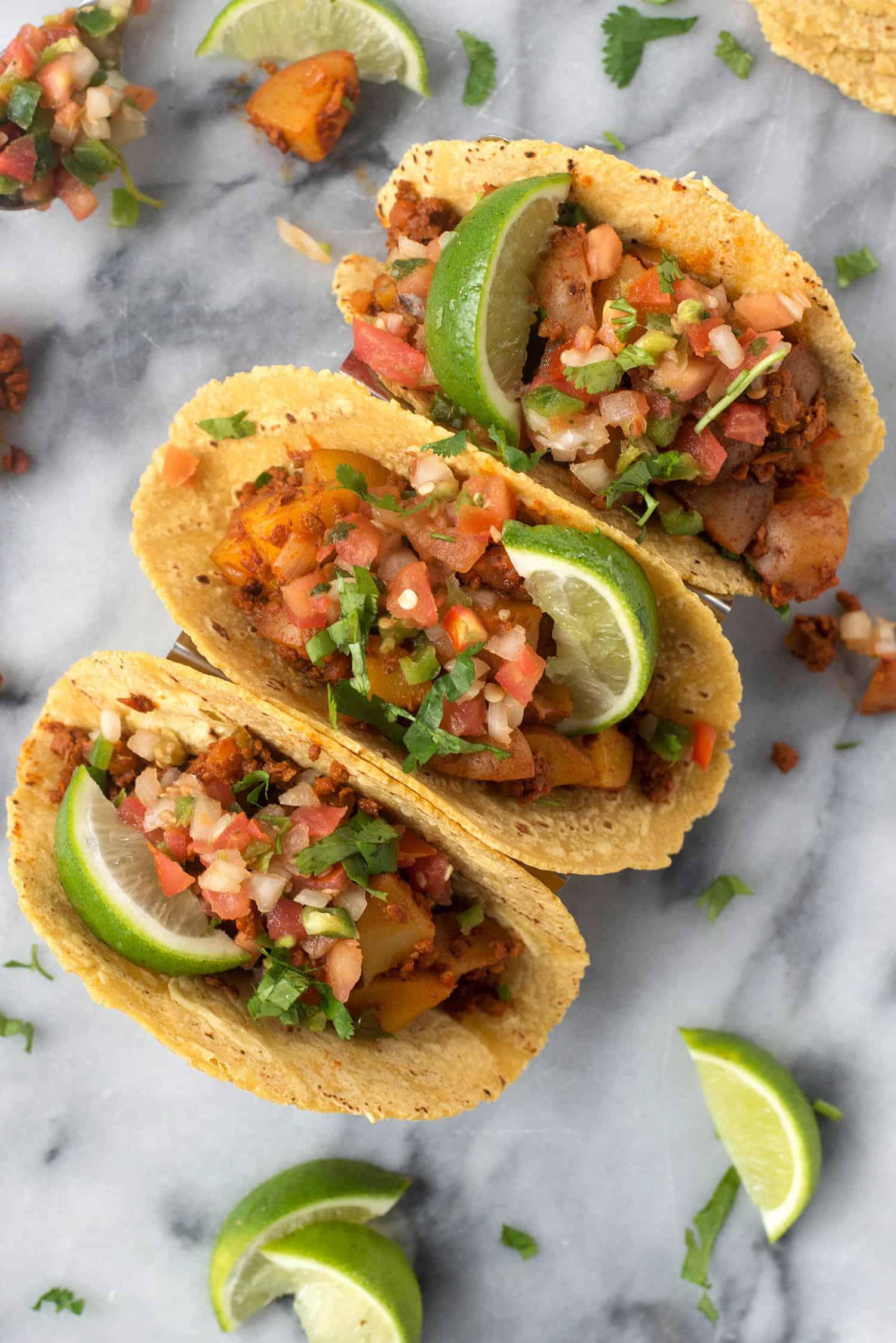vegan soyrizo and potato tacos with pico de gallo