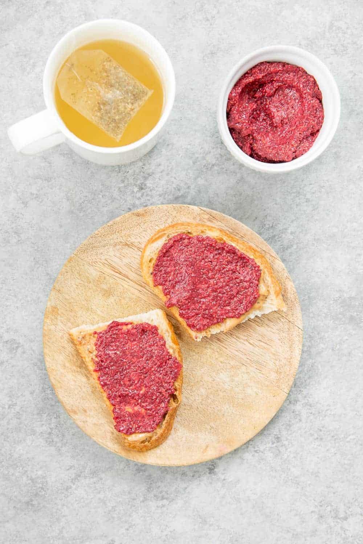toast with raspberry chia jam