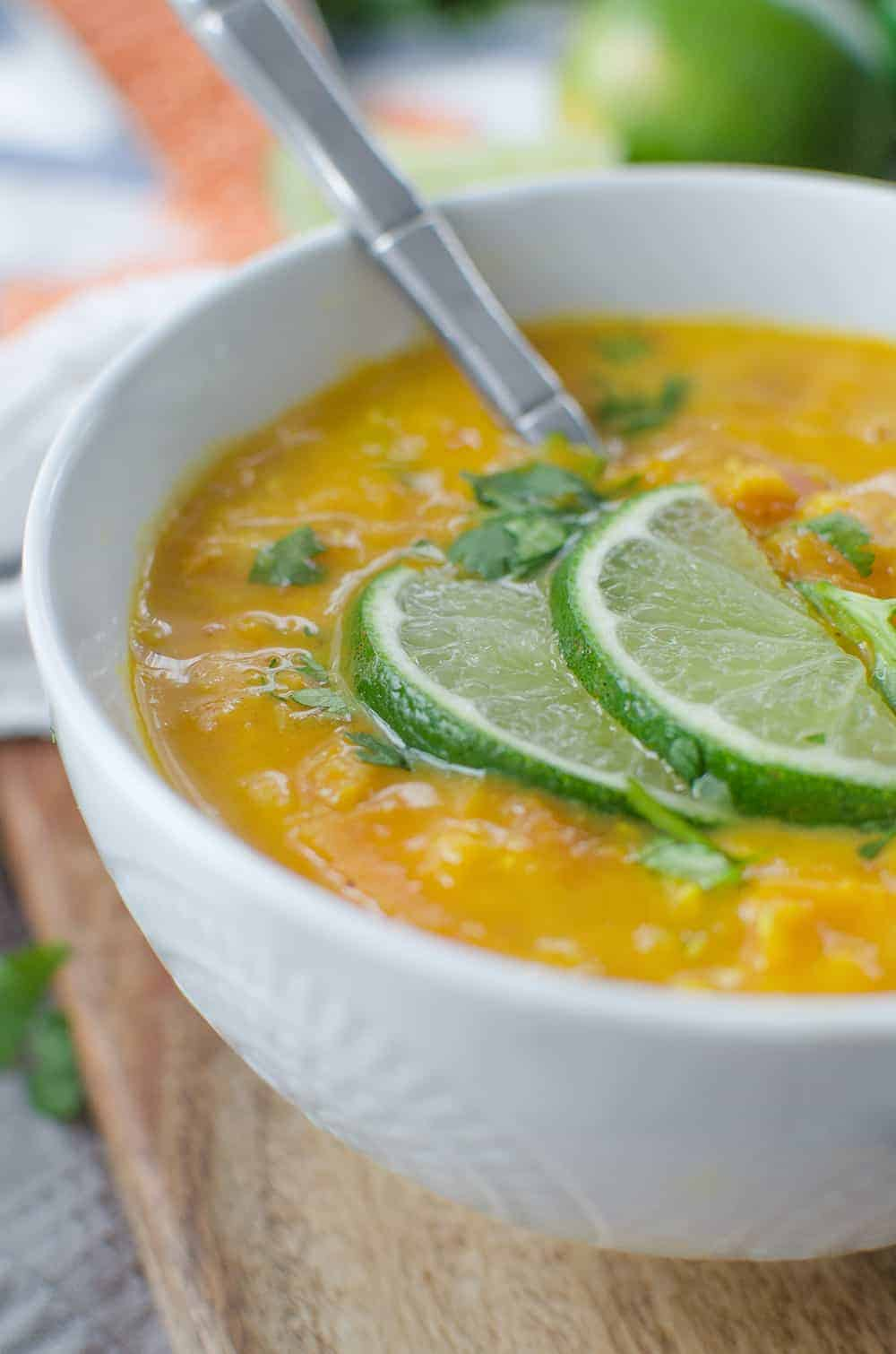 Red Lentil Curry Soup! Vegan, Gluten-Free and so delicious. You've gotta make this protein packed soup! | www.delishknowledge.com