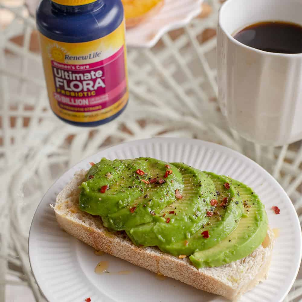 avocado toast with probiotic and a coffee