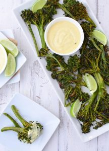 The best vegetable side dish or appetizer! Roasted Curry Broccoli Florets with a curry dipping sauce! Vegan & Gluten Free | www.delishknowledge.com