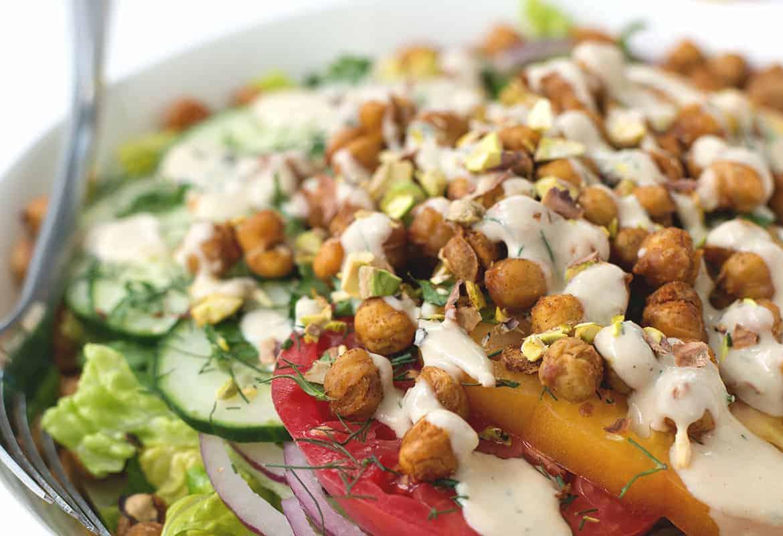 Roasted Chickpea Salad with Hummus Dressing