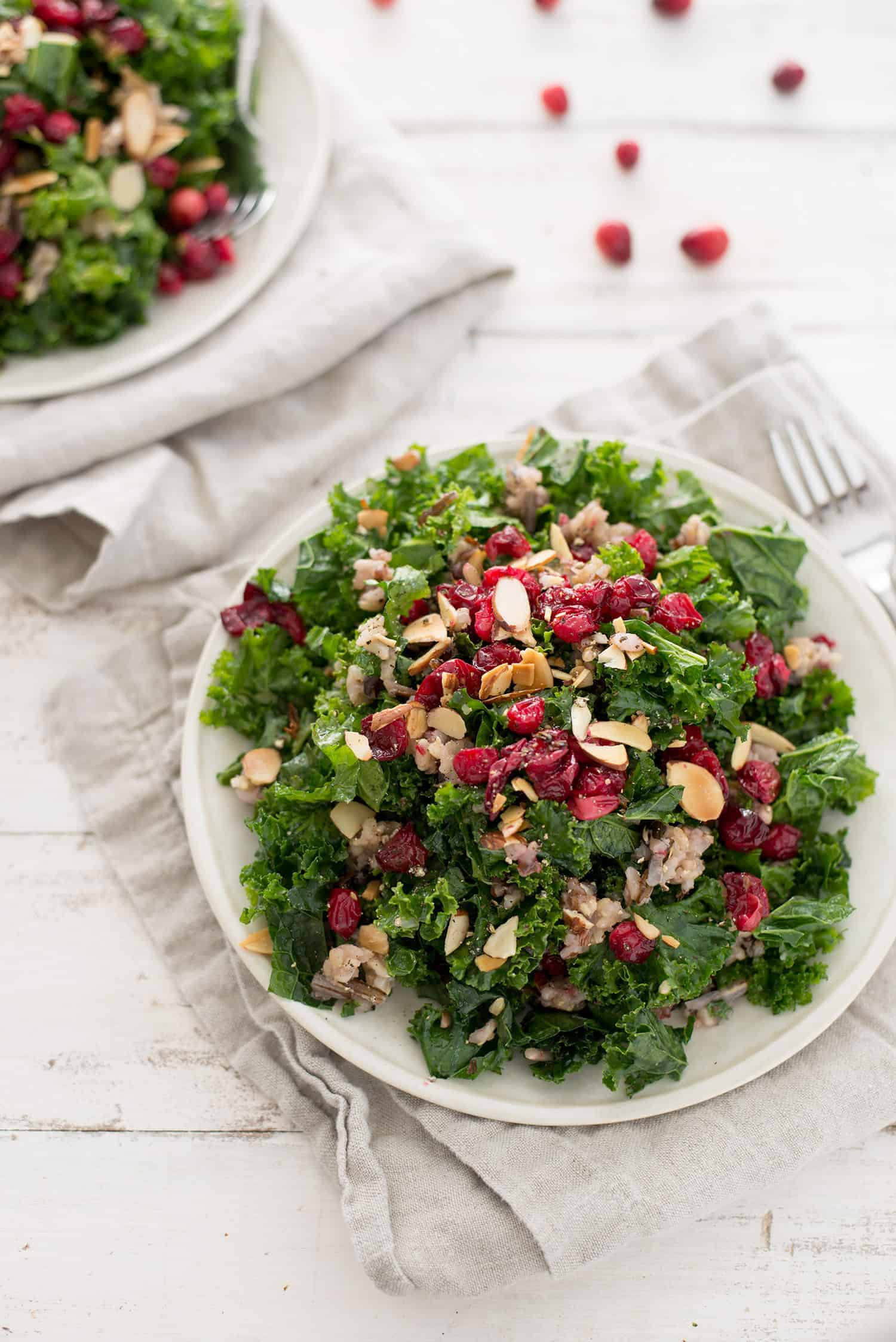 Roasted Cranberry, Wild Rice and Kale Salad! The perfect salad for the holiday season. Roasted thyme cranberries with wild rice, toasted almonds, wild rice and maple-shallot dressing. Vegan and Gluten-Free.   www.delishknowledge.com