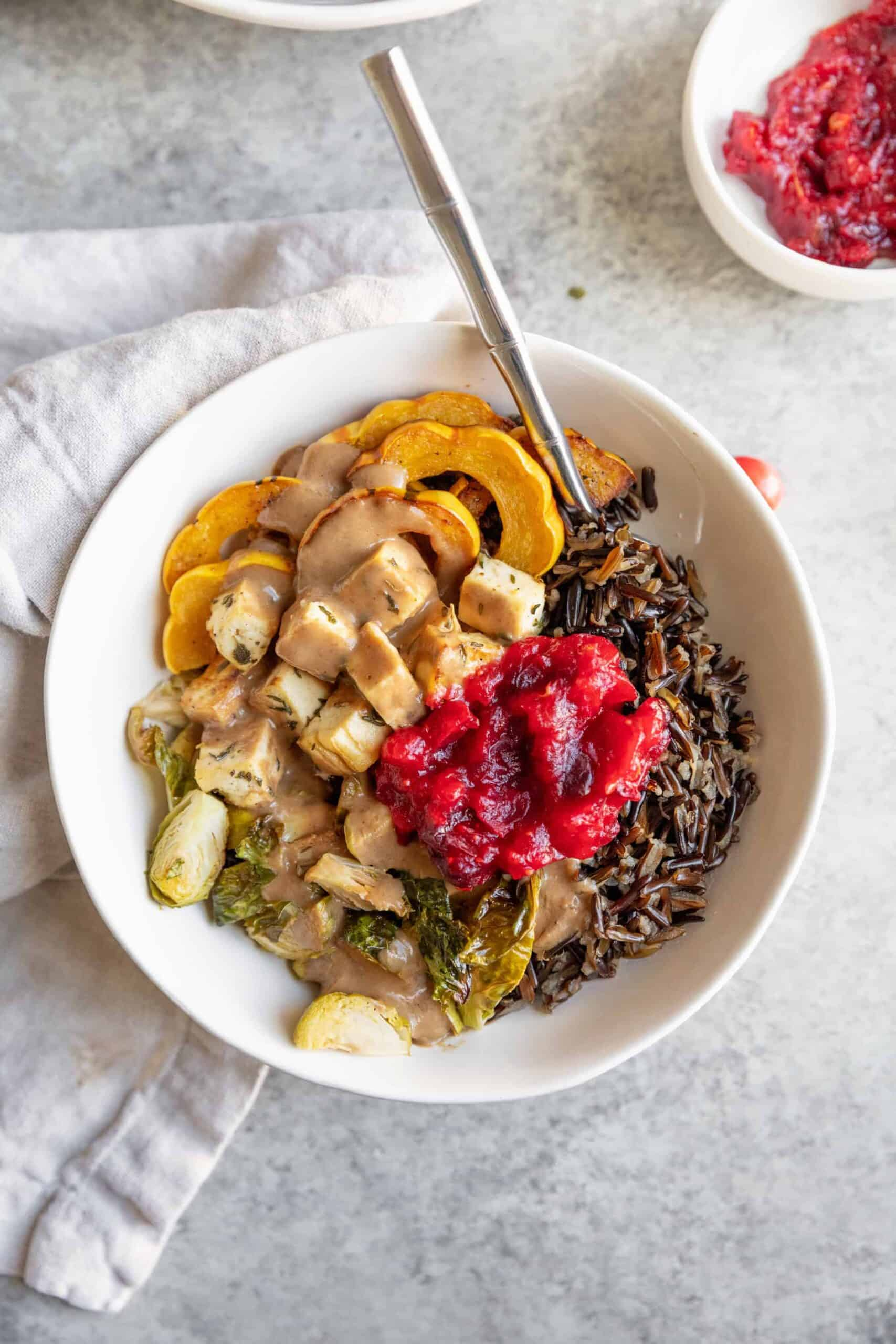 roasted vegetable thanksgiving bowl