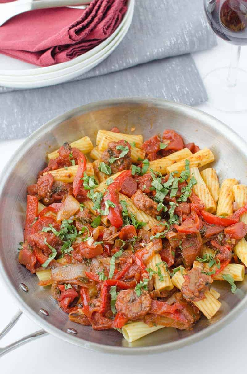 The best vegan pasta! Sauteed 'sausage' and red peppers in a spicy sauce! Ready in 40 minutes but tastes like you been making the sauce all day!