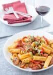 The best vegan pasta! Sauteed 'sausage' and red peppers in a spicy sauce! Perfect for a group or dinner party! Easy enough for a weeknight meal too!