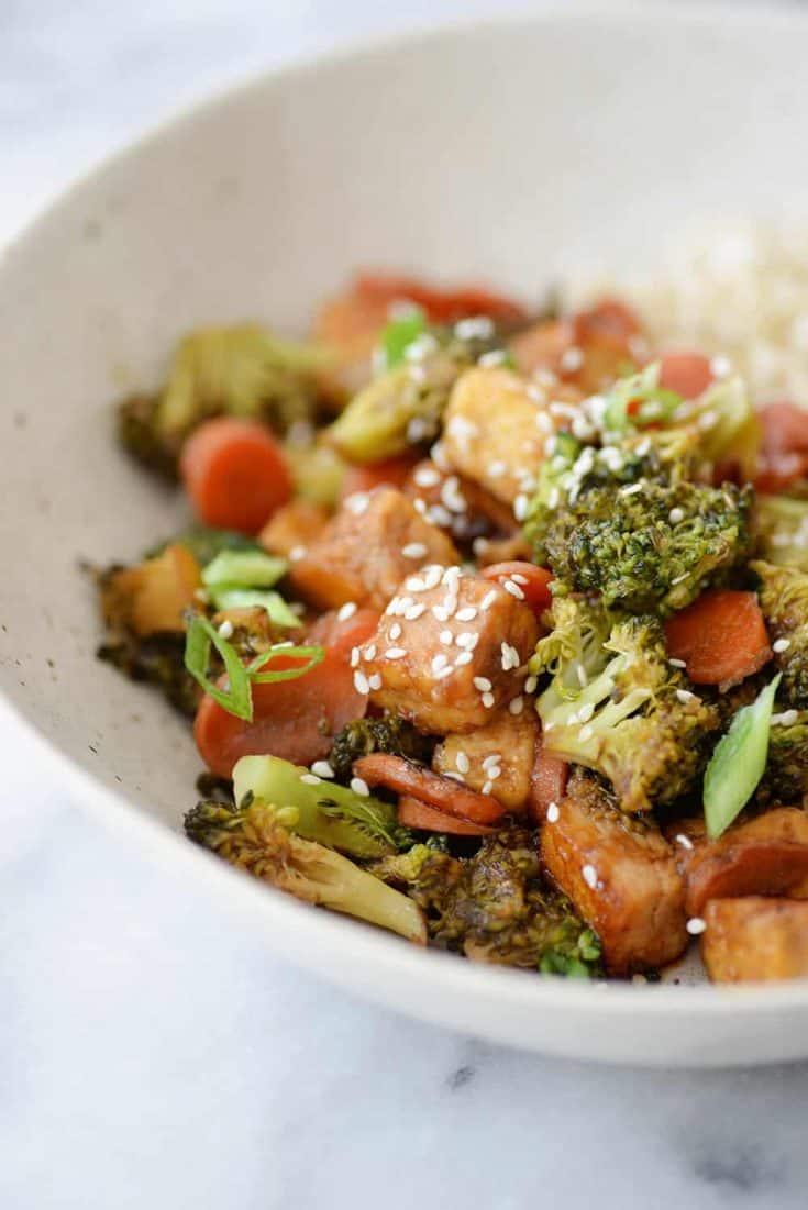 Sesame Ginger Tofu and Veggie Mix Fry