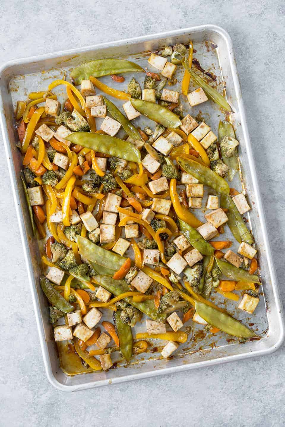 sheet pan dinner with vegetables