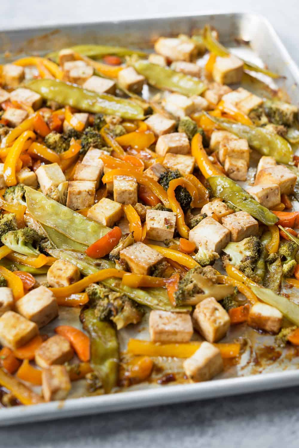 vegan sheet pan stir fry with tofu and vegetables