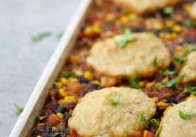 Sheet Pan Vegetable Chili with Beer Biscuits